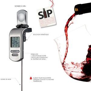 Thermometre a vin Sonde Bouchon Hermetique SIP